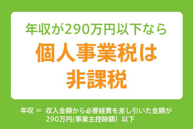 年収が290万円以下なら個人事業税は非課税