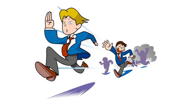 逃げるビジネスマン
